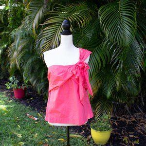 J. Crew One-shoulder Bow Top Wildflower Pink